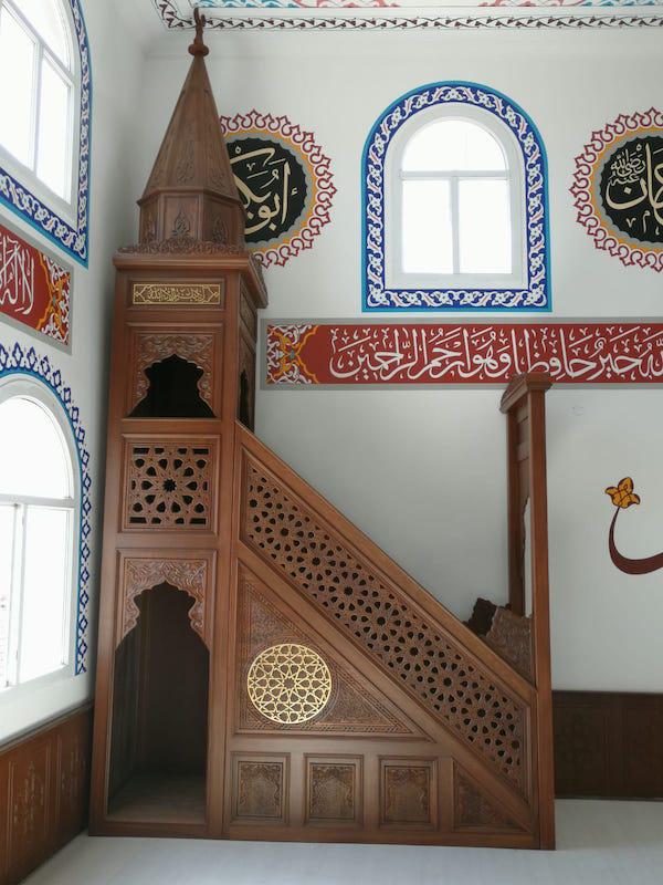 teksöz cami ahşapları kürsü